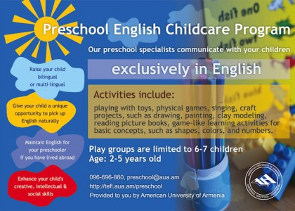 AUA Launches Preschool English Childcare Program