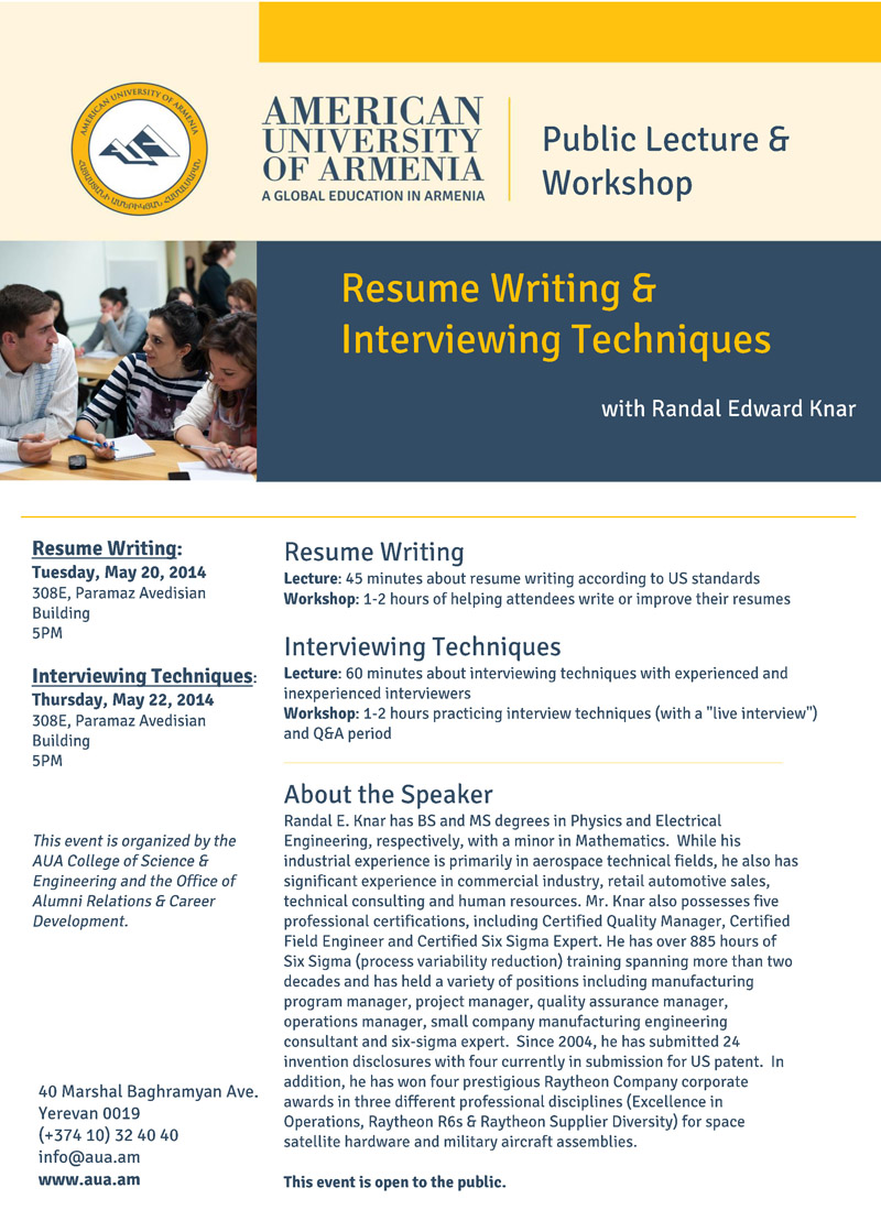 Upcoming Events | Public Lecture & Workshop: Resume Writing ...