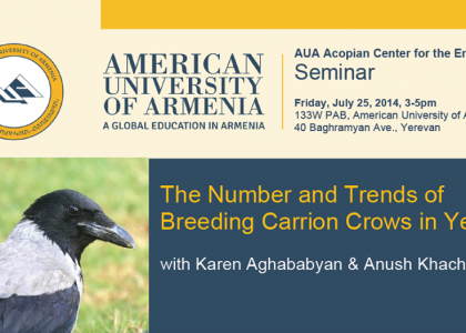 Seminar: The Number & Trends of Breeding Carrion Crows in Yerevan, with Karen Aghababyan & Anush Khachatryan