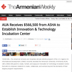 TheAmenianWeekly: AUA Receives $566,500 from ASHA to Establish Innovation & Technology Incubation Center