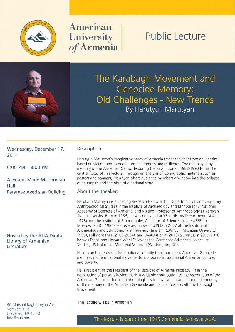 The Karabagh Movement and Genocide Memory