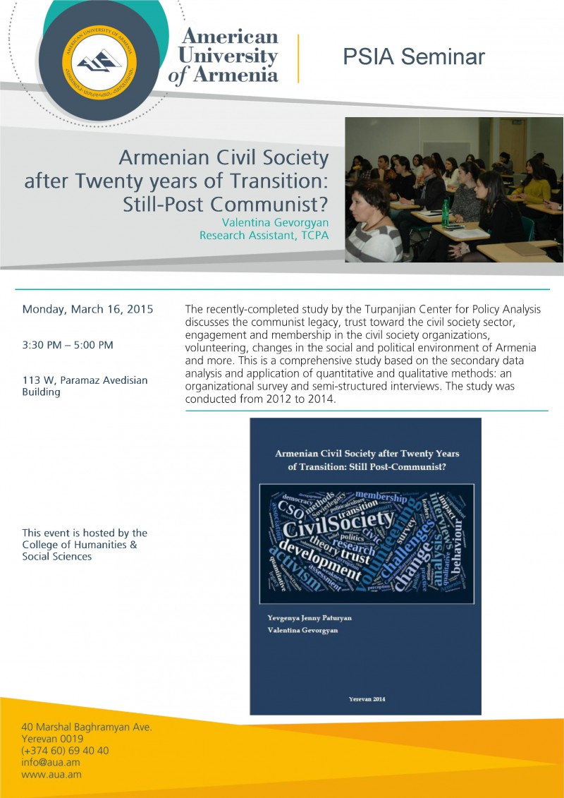 Armenian Civil Society after Twenty years of Transition