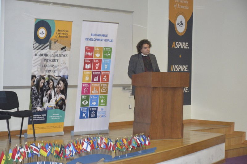 AUA Adjunct Lecturer Nareg Seferian, organizer of  the UN panel discussion