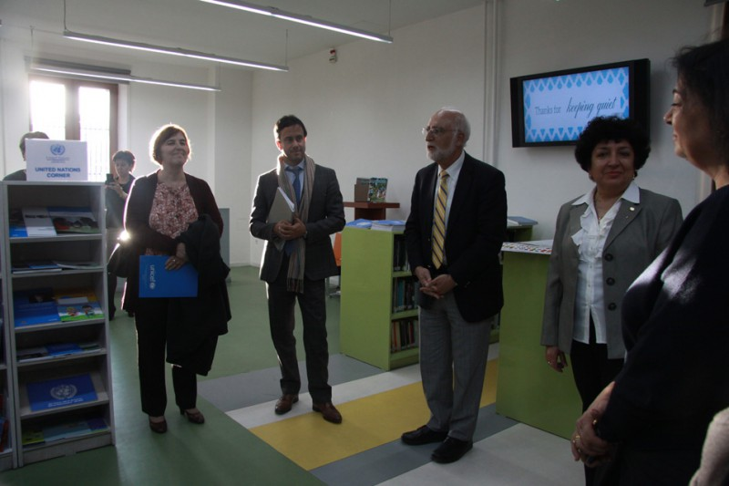 AUA President Armen Der Kiureghian at the opening of the UN Corner at AUA's AGBU Papazian Library