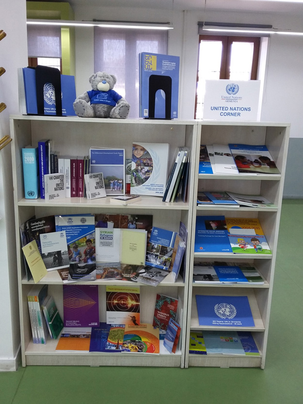 The UN Corner at AUA's AGBU Papazian Library