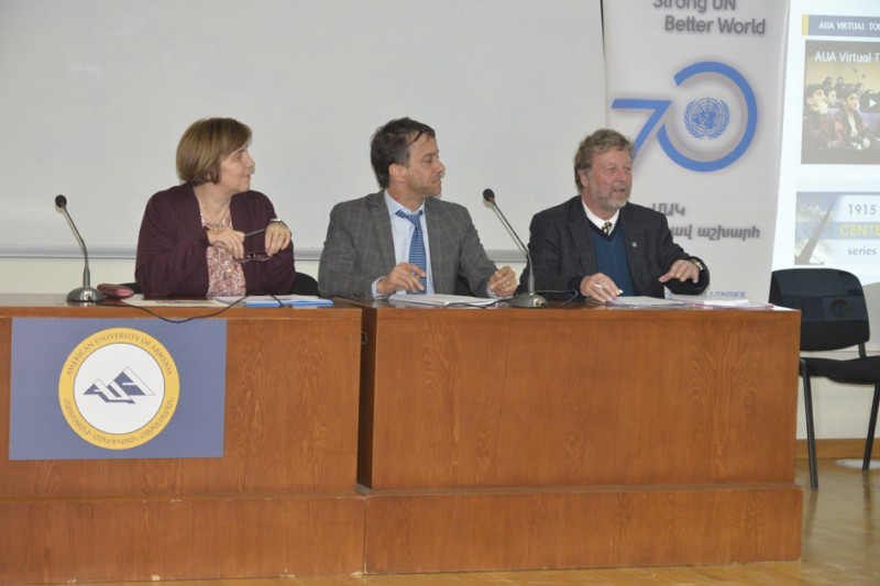 UN Agency Heads in Armenia, representing UNICEF, UNDP, and UNHCR, speak at the panel disucssion at AUA