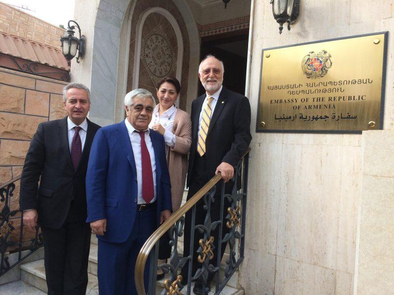 VP Ashot Ghazaryan, H.E. Mr. Manvel Badeyan and wife Lilit Galstyan, and AUA President Armen Der Kiureghian