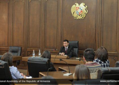 Armenian Parliament Deputy Speaker Eduard Sharmazanov Met with AUA Students and Faculty