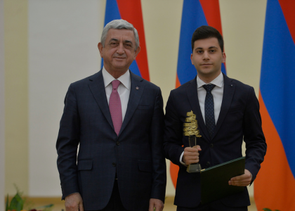 Three AUA Students Receive Educational Awards from President Sargsyan