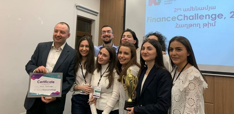 AUA team wins in the Finance Challenge 2020 with Karen Sarkavagyan on the left (Photo - IAB)