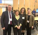 (l-r) AUA VP of Operations Ashot Ghazaryan, AUA donor Rita Balian, AUA alumna Anna Seferian, Garine Achikian