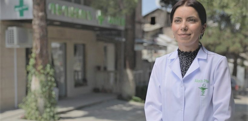 Lena Khachikyan, the owner of the pharmacy in Haghtanak village