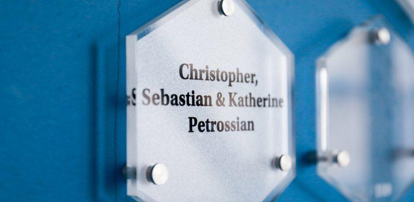 Christopher, Sebastian & Katherine Petrossian plaque