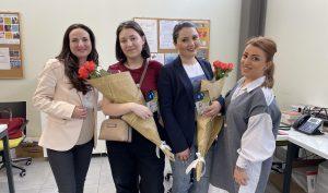 (Left to right) Anna Aghlamazyan (Math and Writing Center Coordinator), Nane Khachikyan, Sona Adamyan, Angela Balasanyan (Writing Consultant)