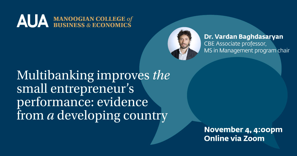 Research Seminar Series on Financial Inclusion: Multibanking Improves the Small Entrepreneur's Performance: Evidence From a Developing Country
