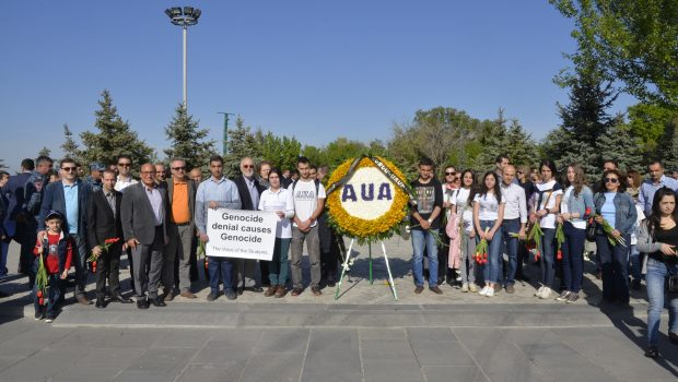 AUA Commemorates the 101st Anniversary of the Armenian Genocide at Tsitsernakaberd Memorial Complex. The President of AUA Armen Der Kiureghian and Dr. Ara Tekian interviewed by Shant TV.